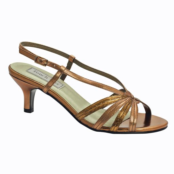 closeup of lynette mid heel bronze metallic evening and