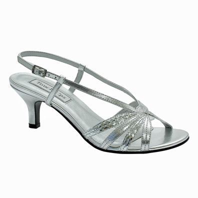 Lynette Silver Mid Heel Evening Shoes