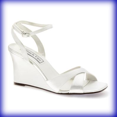 Madison Dyeable White Satin High Heel Wedge Bridal Shoes