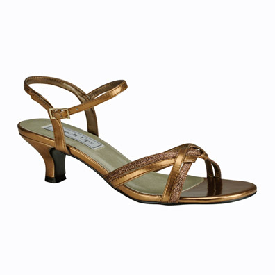 Melanie Bronze Low Heel Evening Shoes