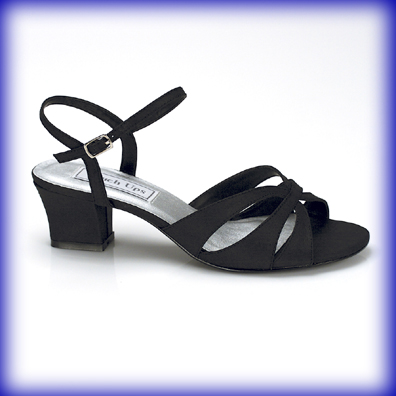 Monaco Black Low Heel Evening Shoes