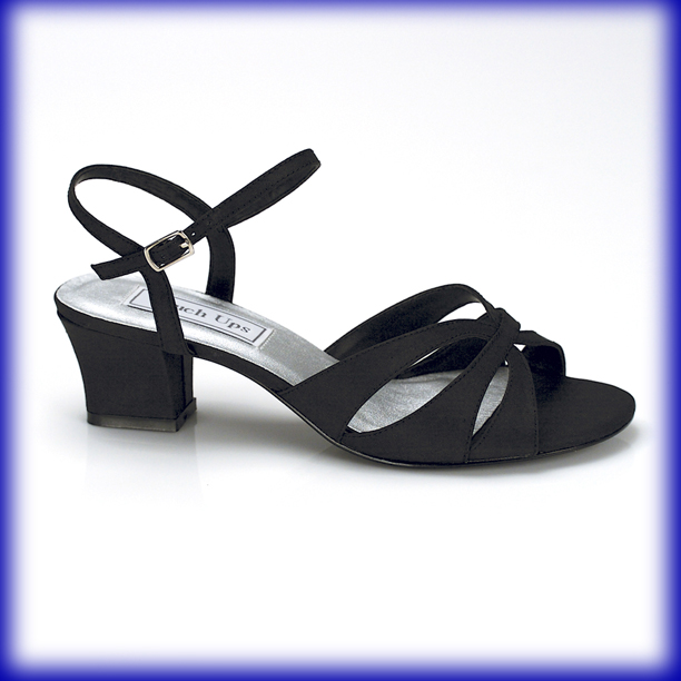 closeup of monaco low heel black satin evening and prom shoes