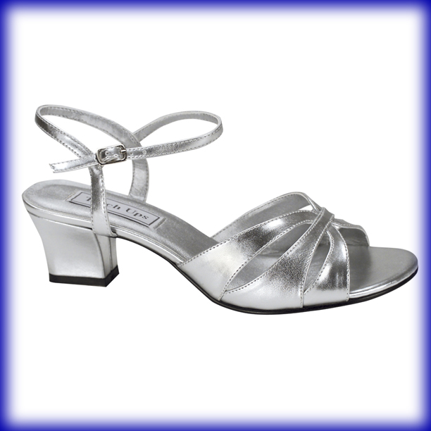 Closeup of Monaco Silver Metallic Low Heel Evening and Prom Shoes