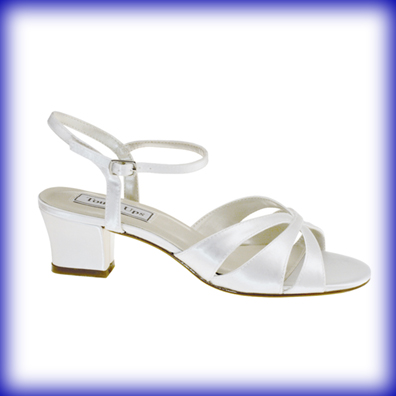Monaco White Satin Low Heel Bridal Shoes