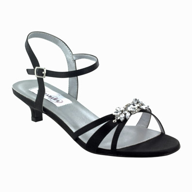 Penelope Black Low Heel Evening Shoes
