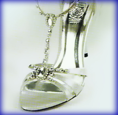 Detail of Shakira Silver Sky High Heel Evening Shoes
