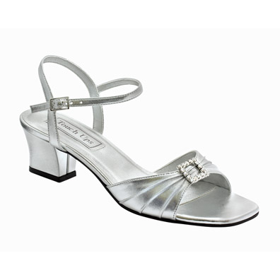 Shala Silver Metallic Low Heel Evening Shoes
