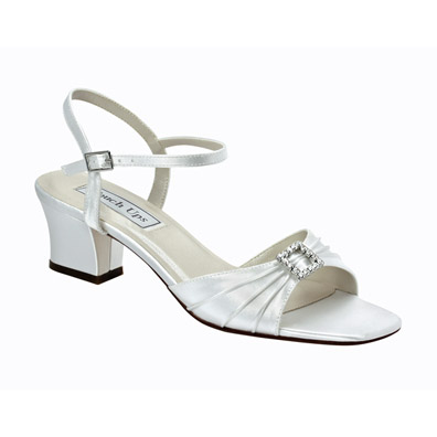 Shala White Satin Low Heel Wedding Shoes