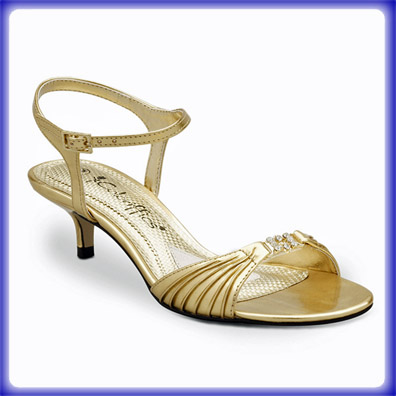 Gold Shoes Low Heel - Qu Heel