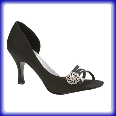 Sharmain Black Mid Heel Evening Shoes