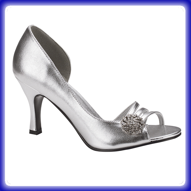 Sharmain Silver Mid Heel Evening Shoes