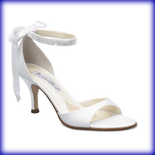Closeup of Sierra White Mid Heel Bridal Shoes