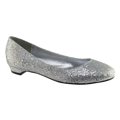 Tamara Silver Glitter Low Heel Evening Shoes