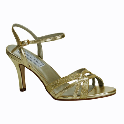 Taryn Mid Heel Gold Glitter Evening Shoes