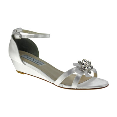 Superb Tillie White Satin Low Wedge Bridal Shoes