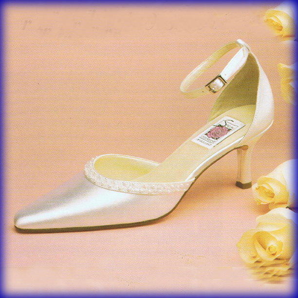 Closeup of Trish White Mid Heel Bridal Shoes