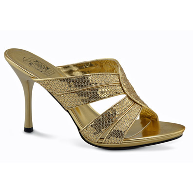 Vanessa Gold Sequin Evening Shoes